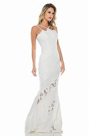 Vestido Longo Off White com Renda