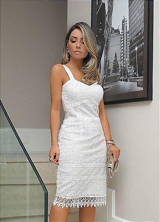 Vestido Branco em Renda Guipure