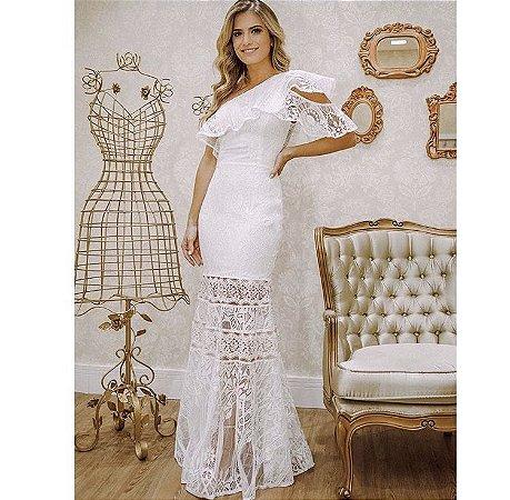 Vestido Branco Longo Paloma