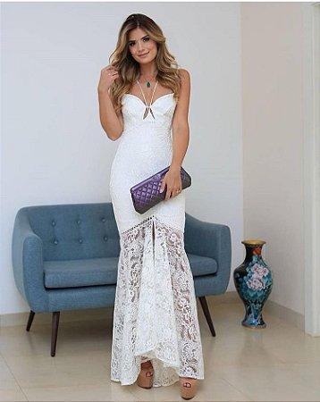 Vestido Longo Off White Elena em Renda