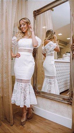 Vestido Branco Midi Heloísa em Renda