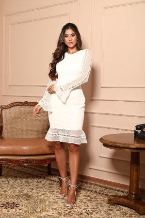Vestido Branco Tatiane em Renda Poazinho