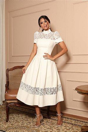 Vestido Diana Off White em Couro Ecológico