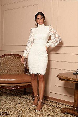 Vestido Branco Vivian em Renda Florida e Manga Longa