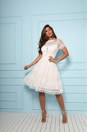Vestido Branco Alana em Renda