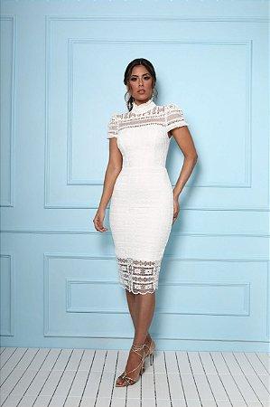 Vestido Maitê Branco Midi em Renda