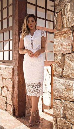 Vestido Mônica Branco em Renda