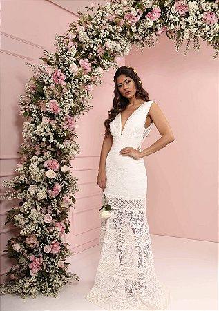 Vestido Micaela Off White Longo em Renda