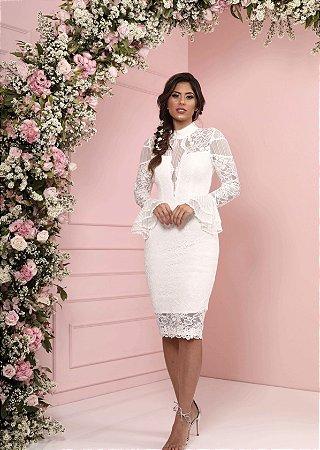 Vestido Estela Branco em Renda