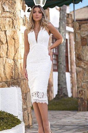 Vestido Olívia Branco em Renda