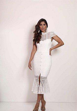 Vestido Girassol Branco em Renda