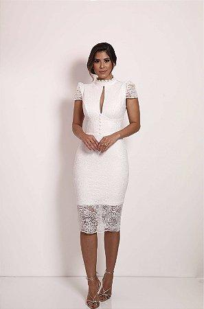 Vestido Camélia Branco em Renda