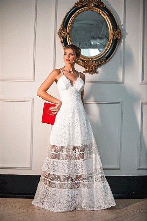 Vestido Longo Graciane Off White em Renda