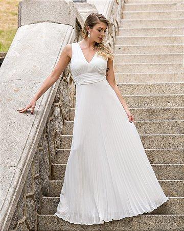 Vestido Talita Branco Plissado