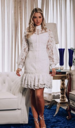 Vestido Vanessa Branco em Renda e Manga Longa