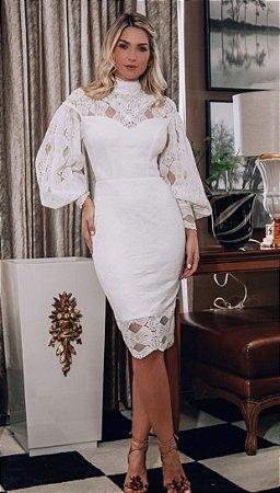 Vestido Poliana Off White em Renda com Manga Bufante