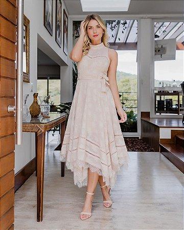 Vestido Luana Rose Midi com Detalhes em Renda