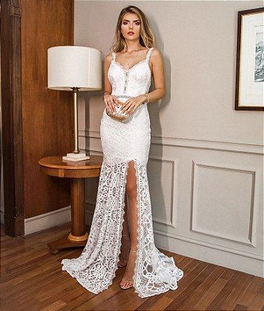 Vestido Ana Júlia Branco Longo em Renda