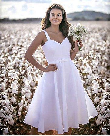 Vestido Bianca Branco com Laço