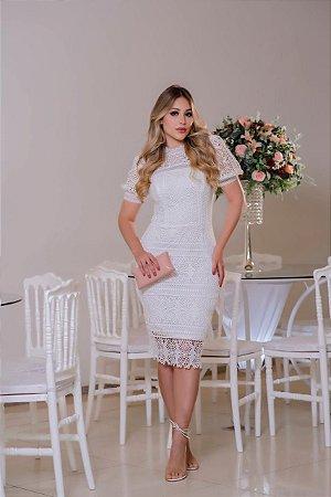 Vestido Grazi Branco em Guipir com Decote