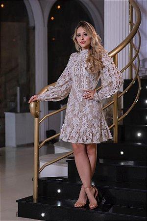 Vestido Ester Bege e Branco com Detalhes em Renda