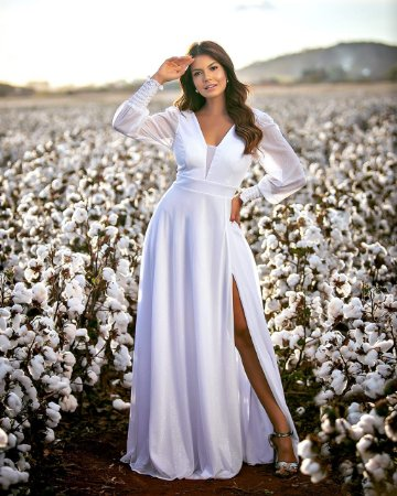 Vestido Rafaela Longo em Lurex com Fenda