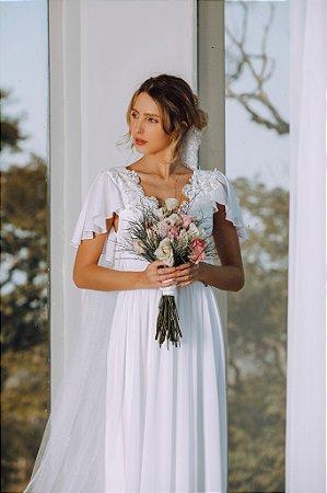 Vestido Débora Longo com Busto em Renda e Decote Costas