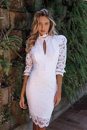 Vestido Maitê Off White em Renda
