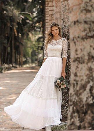 Vestido Rebeca Longo com Detalhes em Guipir
