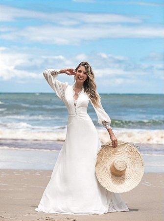 Vestido Francyne Longo Liso com Detalhes em Renda