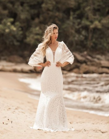 Vestido Bruna Sereia Longo em Renda