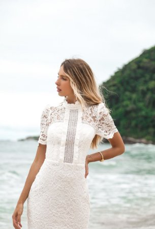 Vestido Maria Branco Midi em Renda