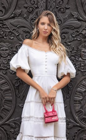 Vestido Isadora Branco com Manga Bufante
