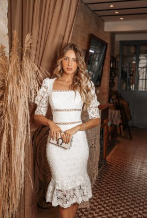 Vestido Karine Branco em Renda Guipir