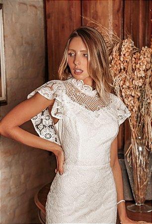 Vestido Giovana Off White em Renda