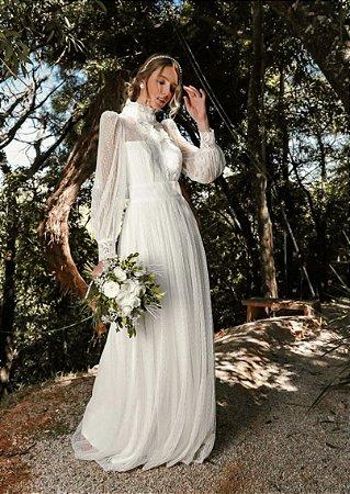 Vestido Angélica Longo em Renda e Poazinho