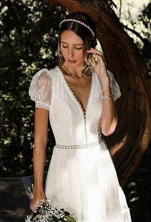 Vestido Cecília Branco Longo em Renda