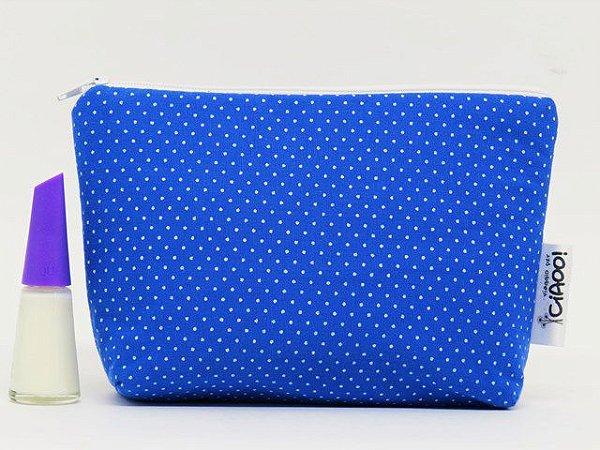 Azul royal com poa branco - Nécessaire Pequena