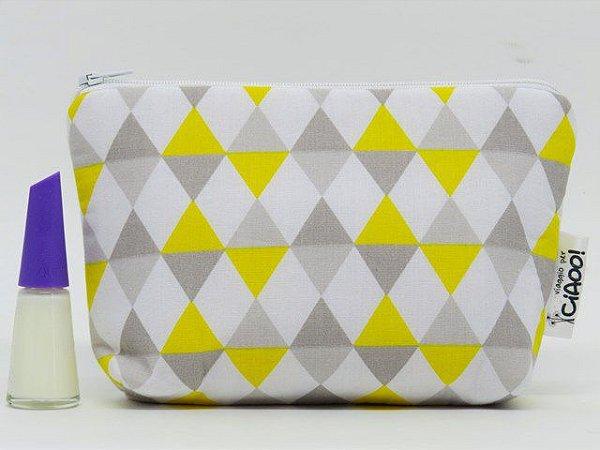 Cinza e amarelo - Nécessaire Pequena - Opção 2