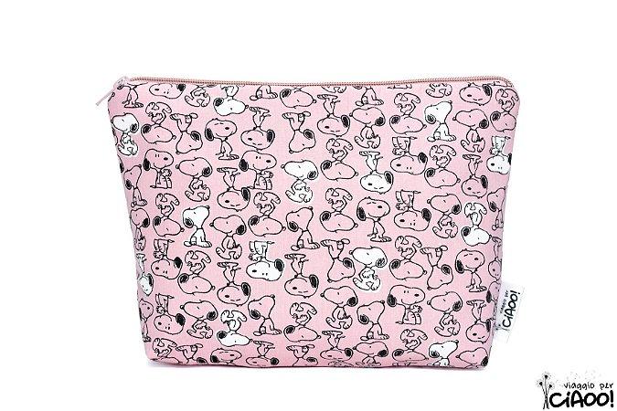 Snoopy rosa - Nécessaire Grande - Opção 1