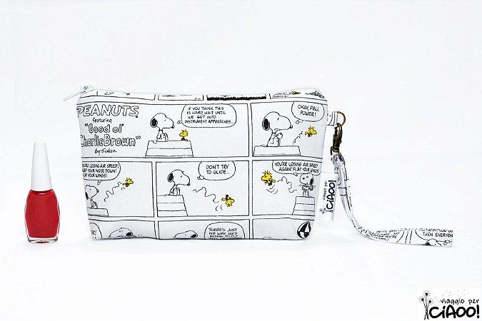 Snoopy Preto e Branco - Clutch - Opção 1