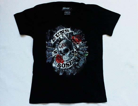 Camiseta Feminina Guns n' Roses - Skull & Roses