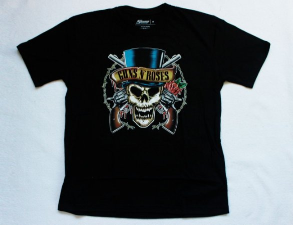 Camiseta Guns n' Roses - Skull and Guns