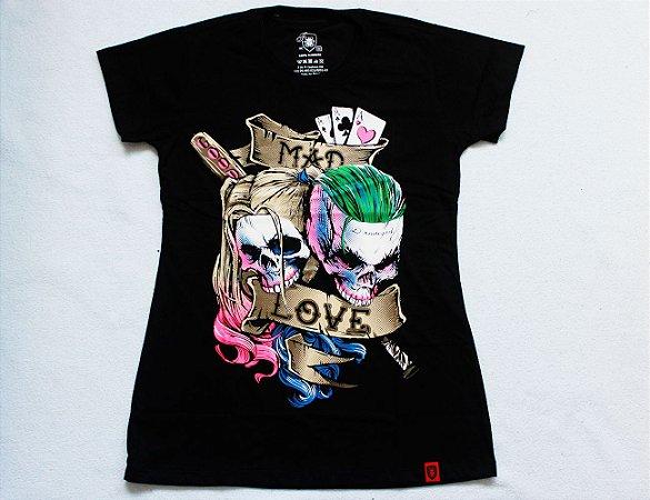 Camiseta Feminina Coringa e Arlequina - Mad Love