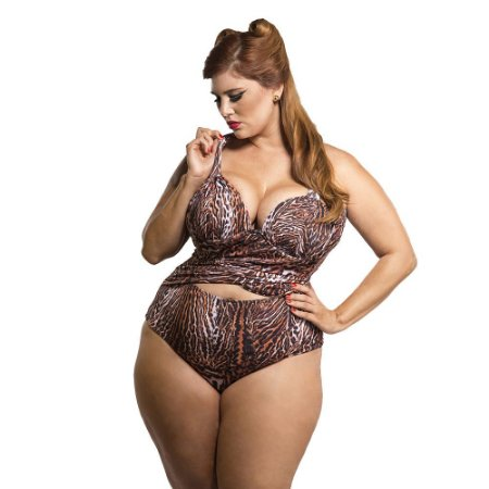Maiô Plus Size Silhouette Animal Print