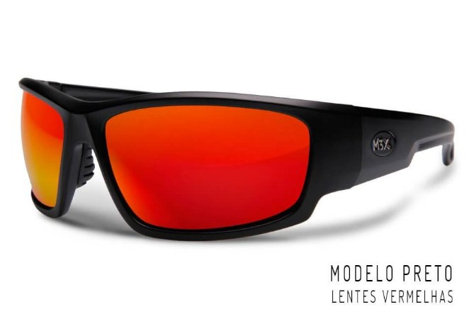 Óculos Polarizado Monster 3x Black Monster - Vermelho
