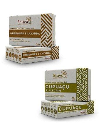 Shampoo Sólido Natural Murumuru e Lavanda + Condicionador Sólido Cupuaçu e Alecrim - LINHA LIXO ZERO