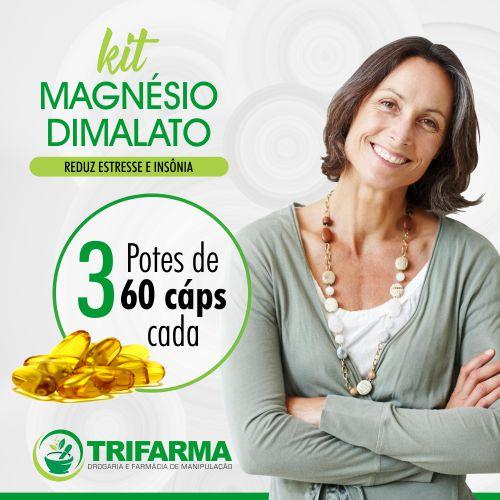 KIT MAGNESIO DIMALATO 300mg - 3 POTES C/60 CÁPSULAS CADA!