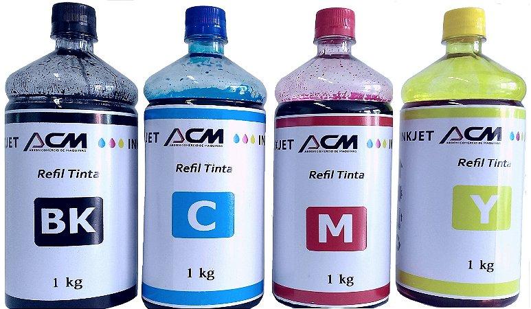 Kit Refil Tinta Compatível Epson L200 L210 L355 L555 com 4 cores de 1L