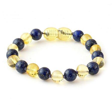 Pulseira/tornozeleira de âmbar para bebê limão lapis lazuli polido